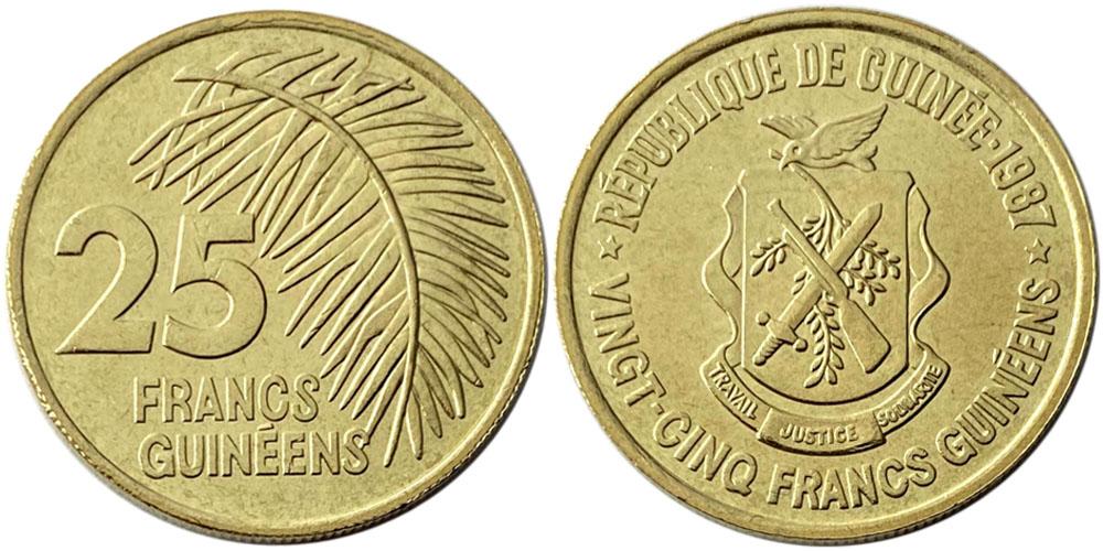 25 франков 1987 Гвинея UNC