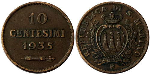 10 чентезимо 1935 Сан-Марино