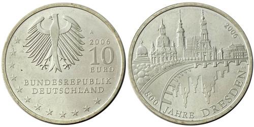 10 евро 2006 Германия — 800 лет городу Дрездену — серебро