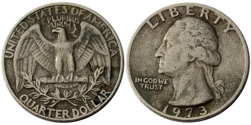 ¼ доллара 1973 США — Без отметки монетного двора