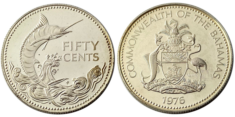 50 центов 1976 Багамские Острова Proof — Серебро
