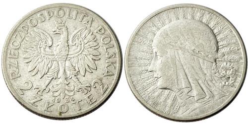 2 злотых 1934 Польша — серебро —  Королева Ядвига