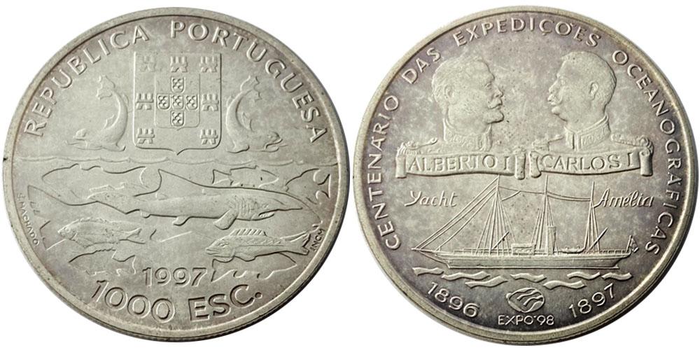1000 эскудо 1997 Португалия — 100 лет океанографическим экспедициям — серебро