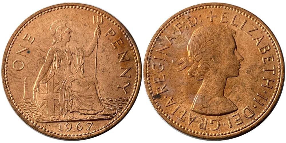1 пенни 1967 Великобритания