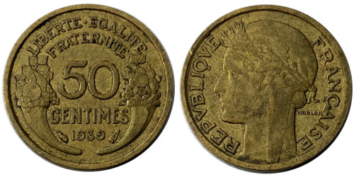 50 сантимов 1939 Франция