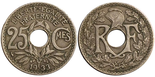 25 сантимов 1933 Франция