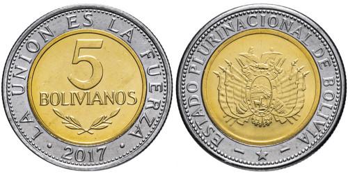 5 боливиано 2017 Боливия UNC