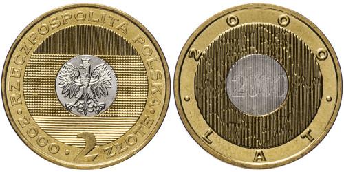 2 злотых 2000 Польша — Смена Тысячелетия
