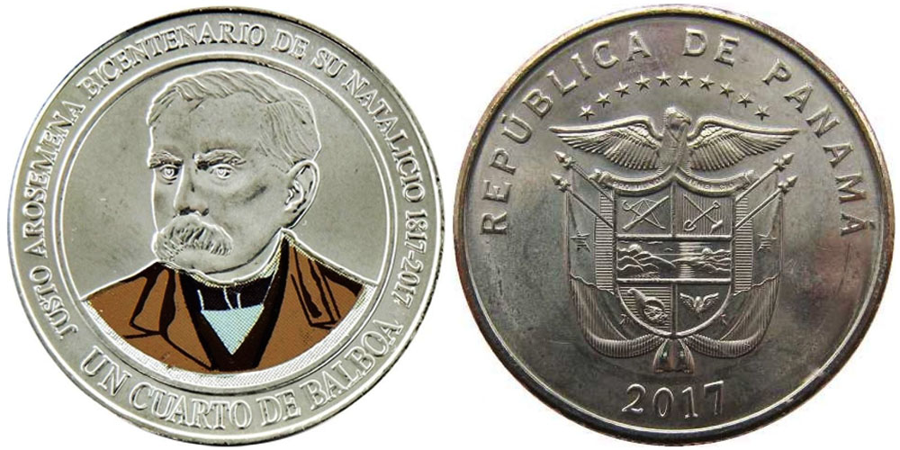 1/4 бальбоа 2017 Панама — 200 лет со дня рождения Хусто Аросемена