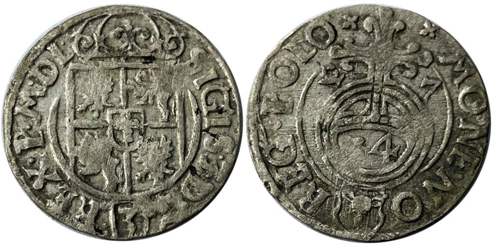 Полторак (1,5 гроша) 1627 Польша — Сигизмунд III — серебро №2