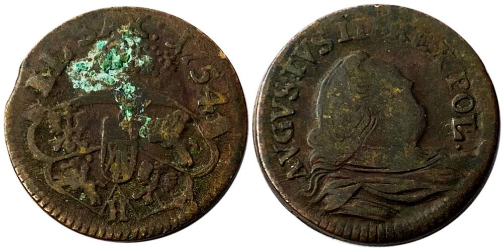 1 грош 1754 Польша — Отметка монетного двора «H»