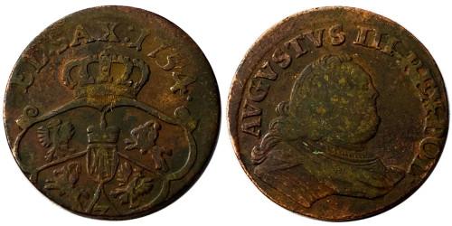 1 грош 1754 Польша — Отметка монетного двора «3»