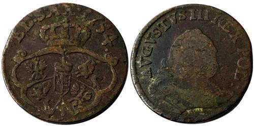 1 грош 1754 Польша — Отметка монетного двора «3» №1