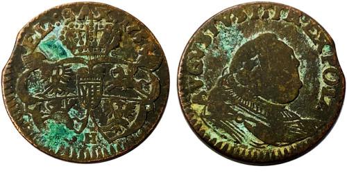 1 грош 1755 Польша — Отметка монетного двора «H»