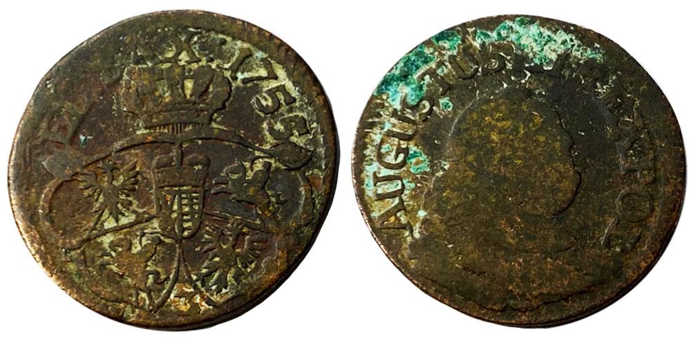 1 грош 1755 Польша — Отметка монетного двора «З»
