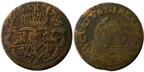 1 грош 1755 Польша — Отметка монетного двора «H» №1