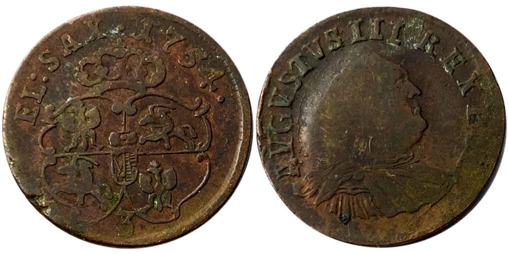 1 грош 1754 Польша — Отметка монетного двора «3» №2