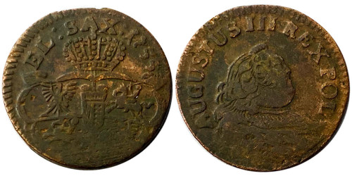 1 грош 1755 Польша — Стёртая отметка монетного двора