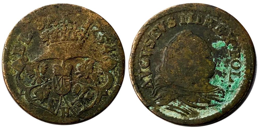 1 грош 1754 Польша — Отметка монетного двора «H» №1