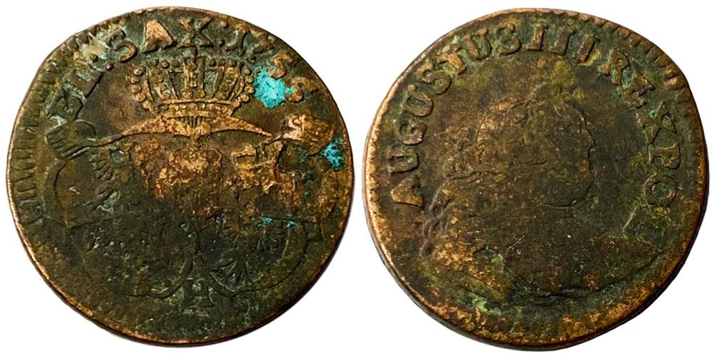 1 грош 1755 Польша — Отметка монетного двора «H» №2