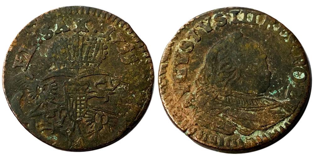 1 грош 1755 Польша — Стёртая отметка монетного двора №1