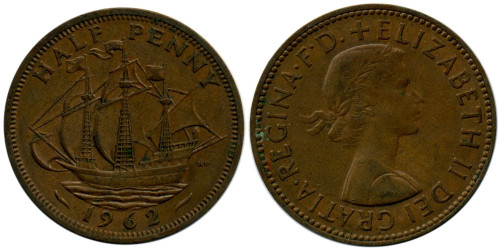 1/2 пенни 1962 Великобритания