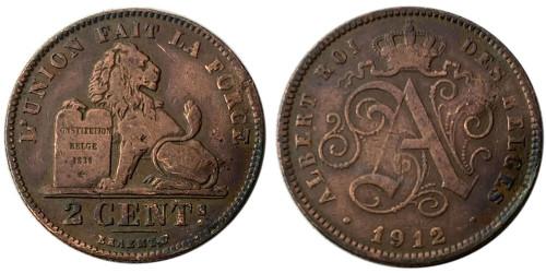 2 сантима 1912 Бельгия — Надпись на французском — ALBERT ROI DES BELGES