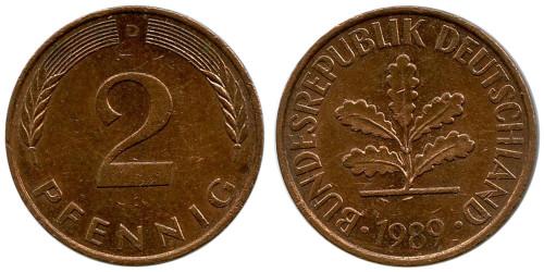2 пфеннига 1989 «D» ФРГ