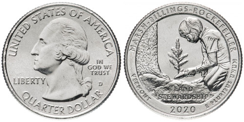 25 центов 2020 D США — Исторический парк Марш-Биллингс-Рокфеллер — Marsh-Billings-Rockefeller UNC