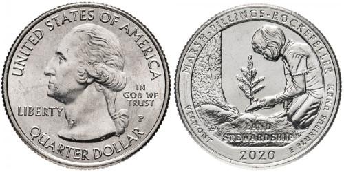 25 центов 2020 P США — Исторический парк Марш-Биллингс-Рокфеллер — Marsh-Billings-Rockefeller UNC