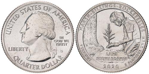 25 центов 2020 S США — Исторический парк Марш-Биллингс-Рокфеллер — Marsh-Billings-Rockefeller UNC