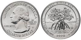 25 центов 2020 D США — Парк и экологический заповедник Бухта Солёной реки — Salt River Bay UNC