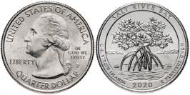 25 центов 2020 P США — Парк и экологический заповедник Бухта Солёной реки — Salt River Bay UNC