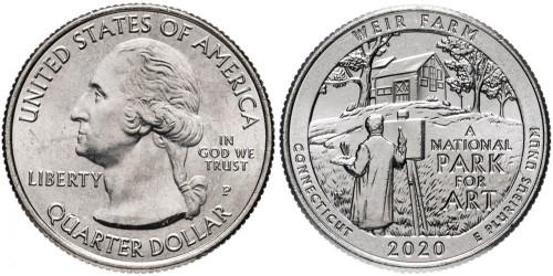 25 центов 2020 P США — Ферма Дж. А. Вейра, Коннектикут — Weir Farm UNC