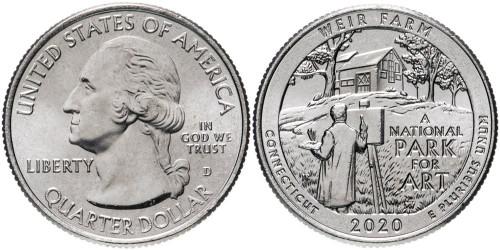 25 центов 2020 D США — Ферма Дж. А. Вейра, Коннектикут — Weir Farm UNC