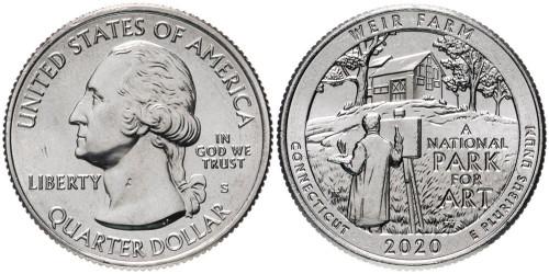 25 центов 2020 S США — Ферма Дж. А. Вейра, Коннектикут — Weir Farm UNC