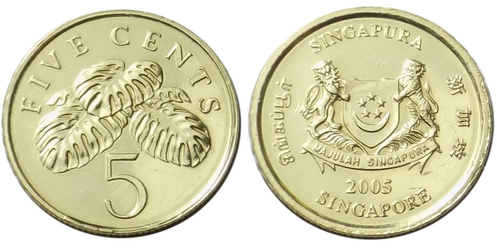 5 центов 2005 Сингапур UNC