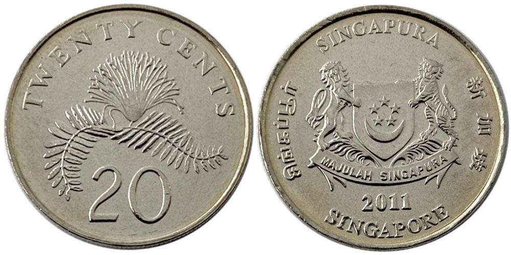 20 центов 2011 Сингапур UNC