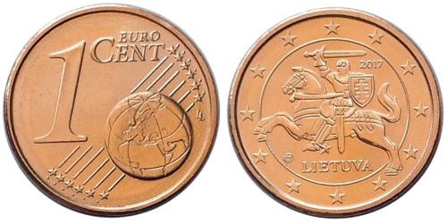 1 евроцент 2017 Литва UNC