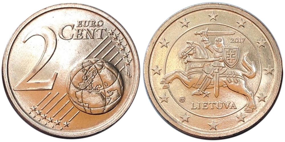 2 евроцента 2017 Литва UNC