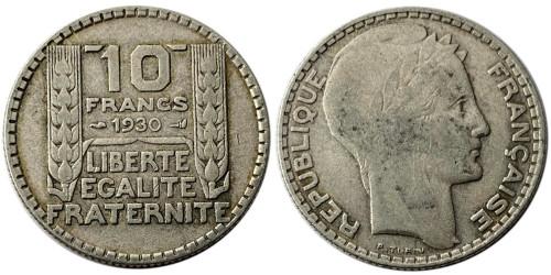 10 франков 1930 Франция — серебро №1