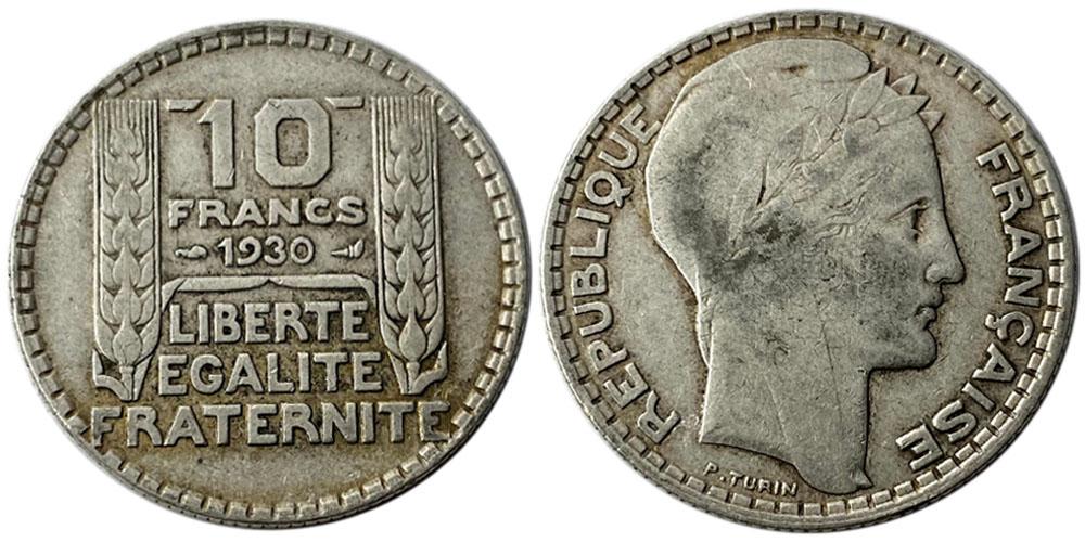10 франков 1930 Франция — серебро №4