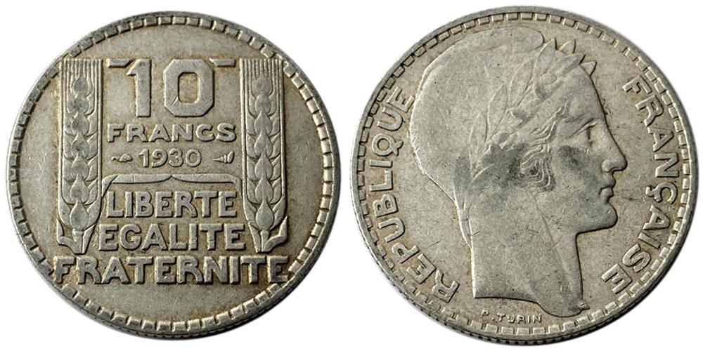 10 франков 1930 Франция — серебро №5