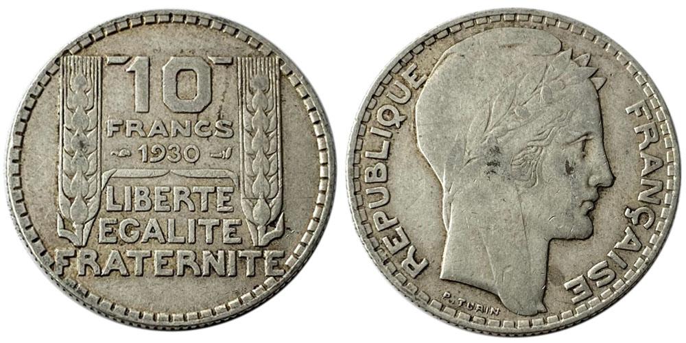 10 франков 1930 Франция — серебро №6