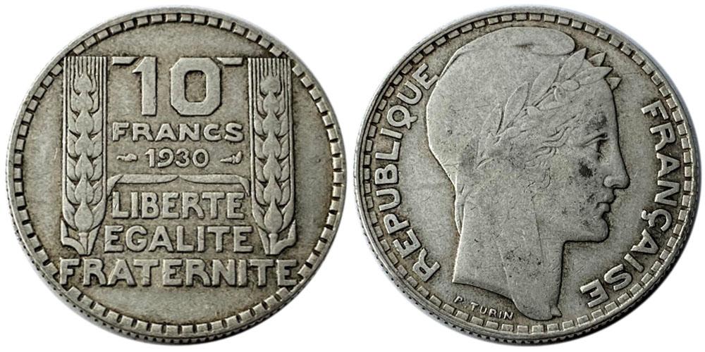 10 франков 1930 Франция — серебро №7