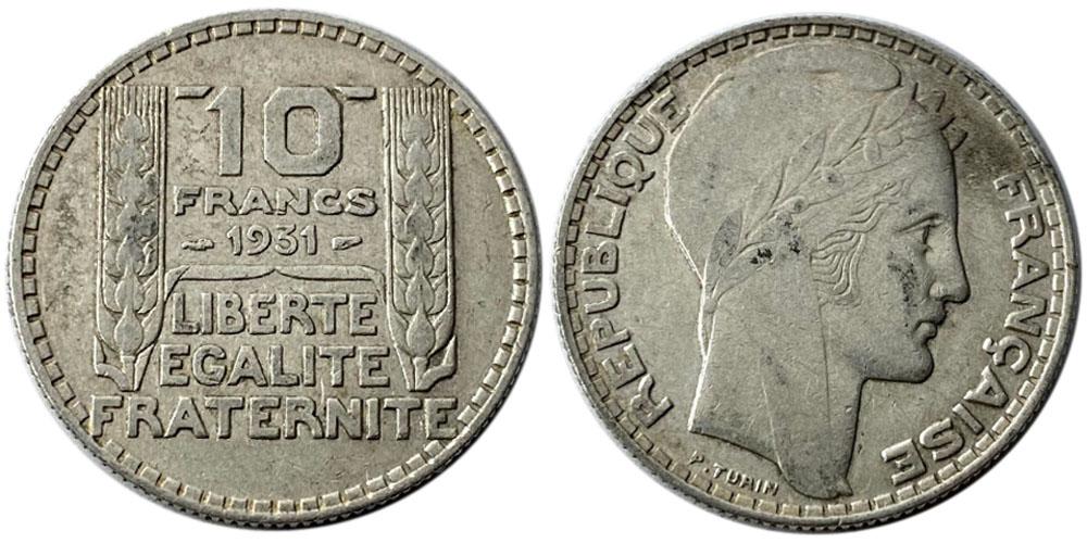 10 франков 1931 Франция — серебро №1