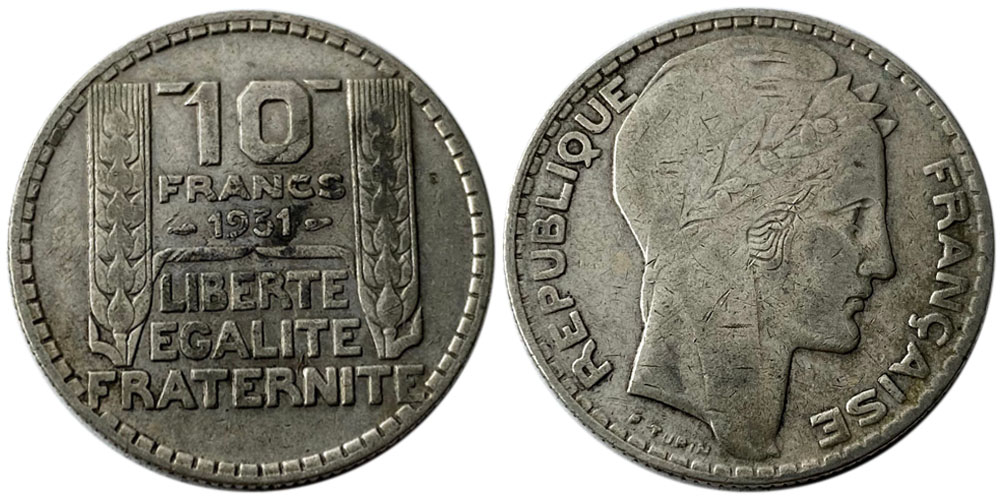 10 франков 1931 Франция — серебро №5