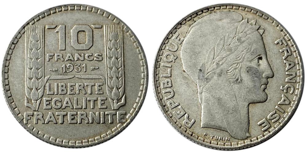 10 франков 1931 Франция — серебро №6