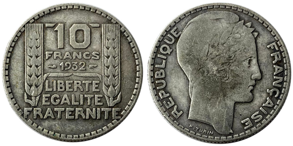 10 франков 1932 Франция — серебро