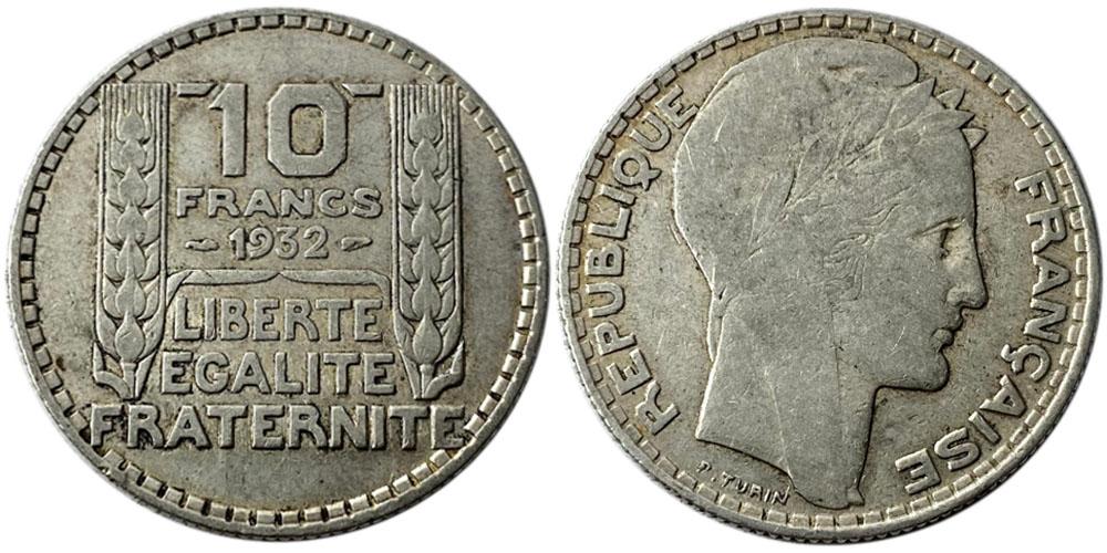 10 франков 1932 Франция — серебро №5